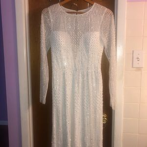 Ivory White Beaded Adrianna Papell Dress